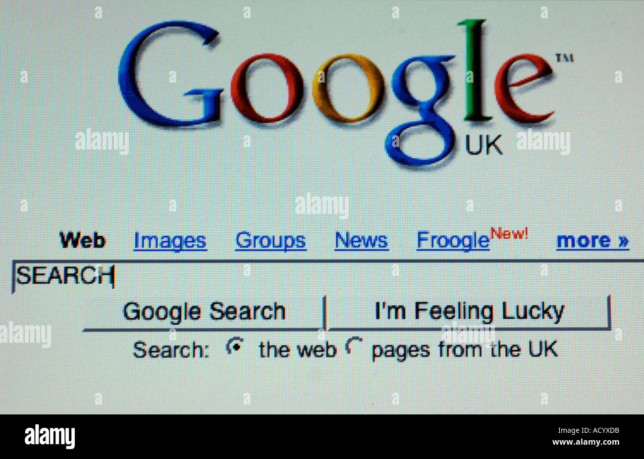 Google search engine website showing the word search in the entry box -  Stock Image