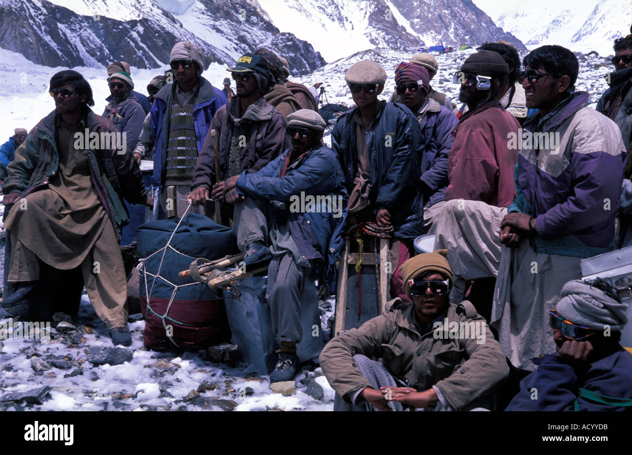 Balti porters at base camp K2 Pakistan - Stock Image