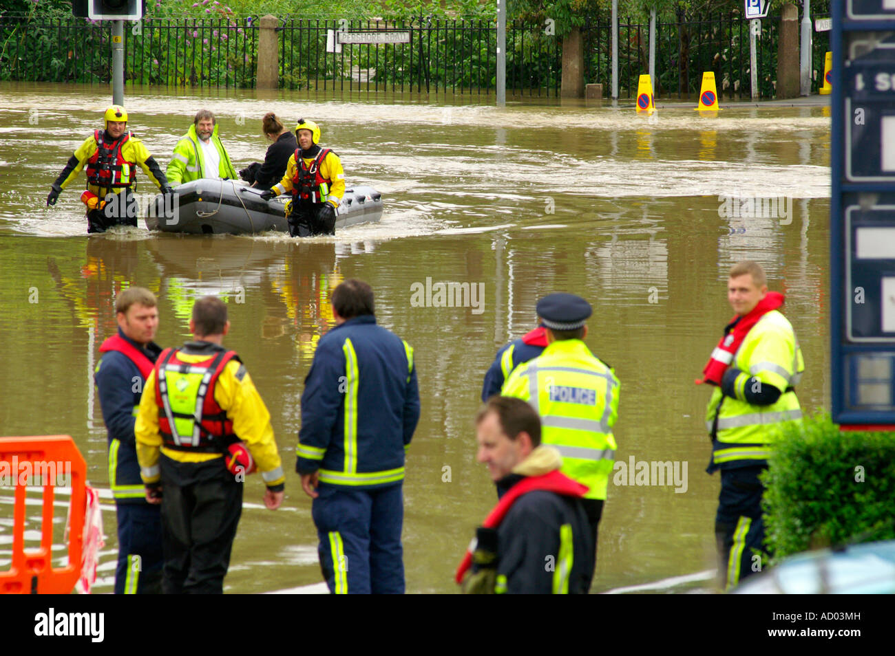 People and their pets  being rescued after the flood of the century. Yorkshire September 2008 - Stock Image