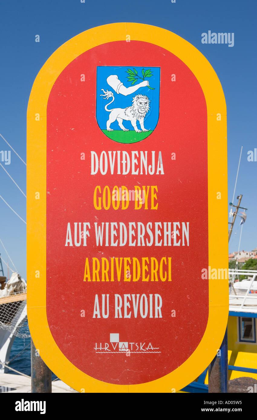 Sign saying goodbye in Bol Croatia - Stock Image