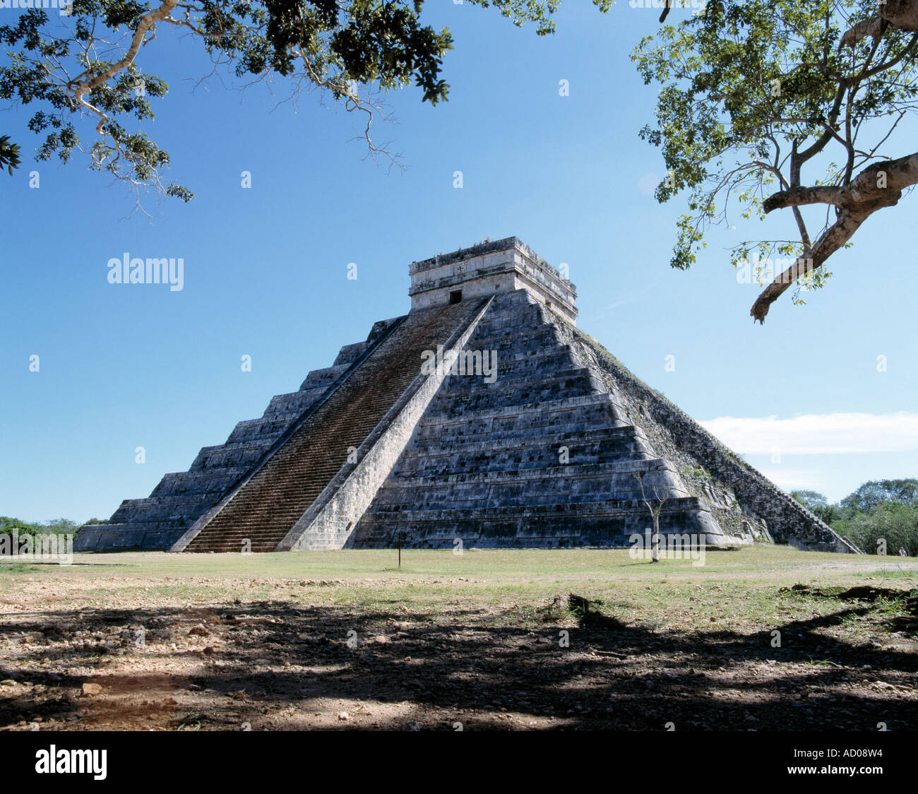 mayan pyramid monument sits in the landscape of yucatan peninsula in mexico, - Stock Image
