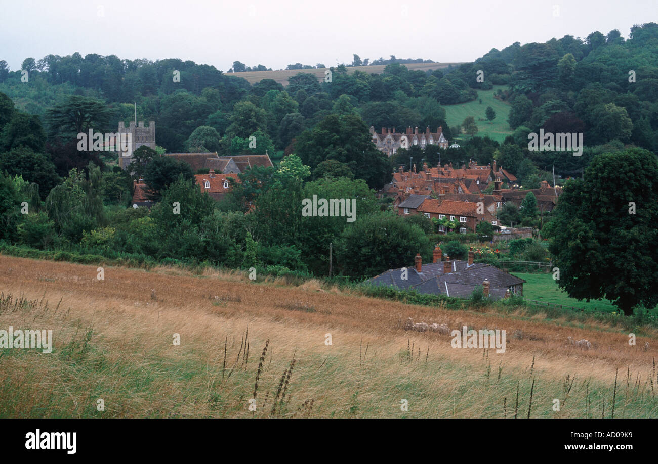 Pretty village of Hambleden, near Henley, with tower of St Mary the Virgin church, red roofs and flint cottages, Buckinghamshire - Stock Image