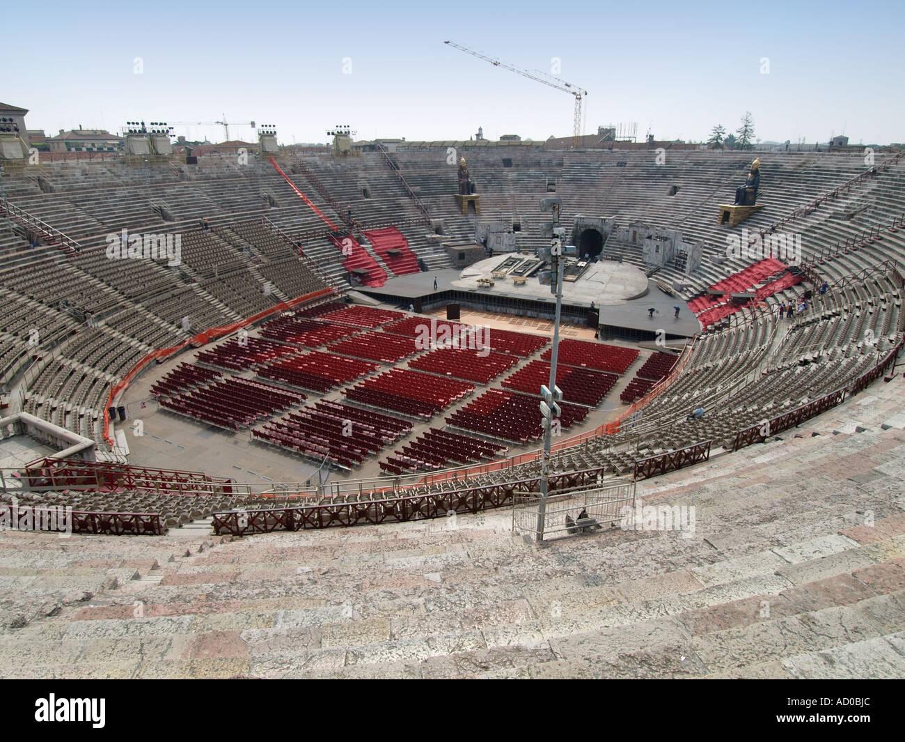Empty Roman arena in Verona Veneto Italy - Stock Image