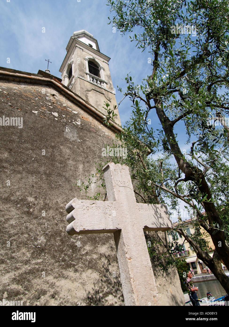 The 12th century San Nicolo church Lazise Garda lake region Italy Stock Photo