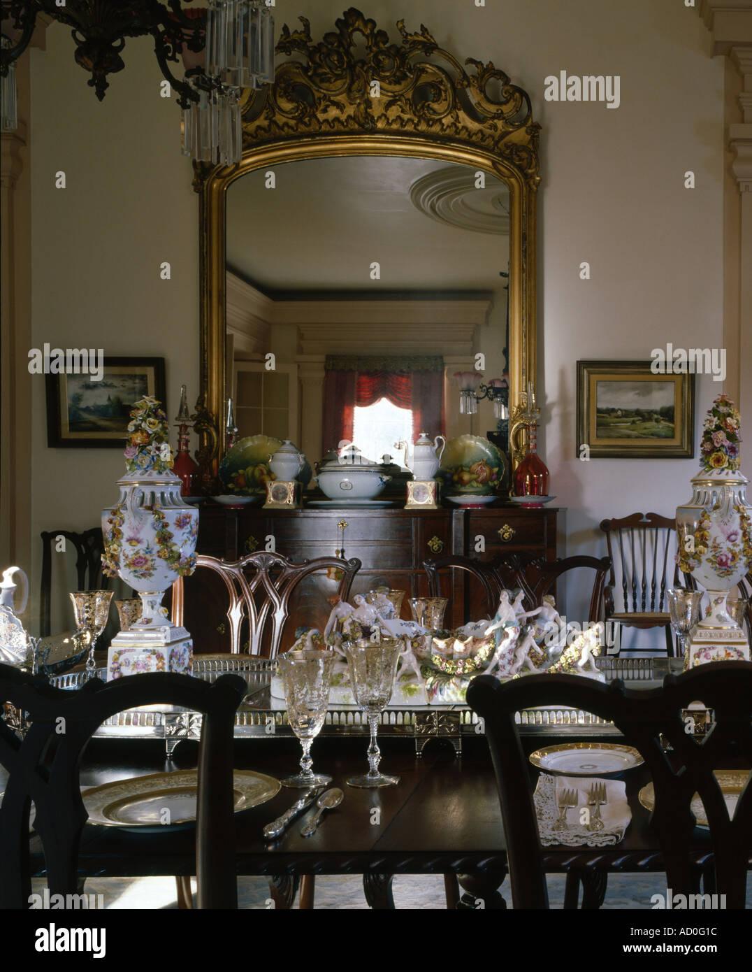 Waverley, Columbus, Mississippi, 1852. Dining room. Architect: Charles I. Pond - Stock Image