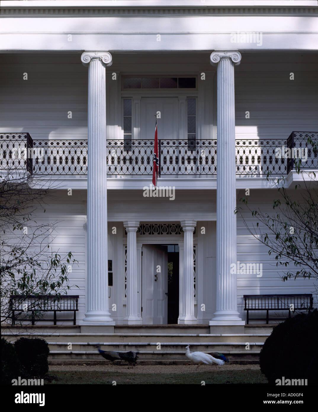 Waverley, Columbus, Mississippi, 1852. Entrance portico. Architect: Charles I. Pond - Stock Image