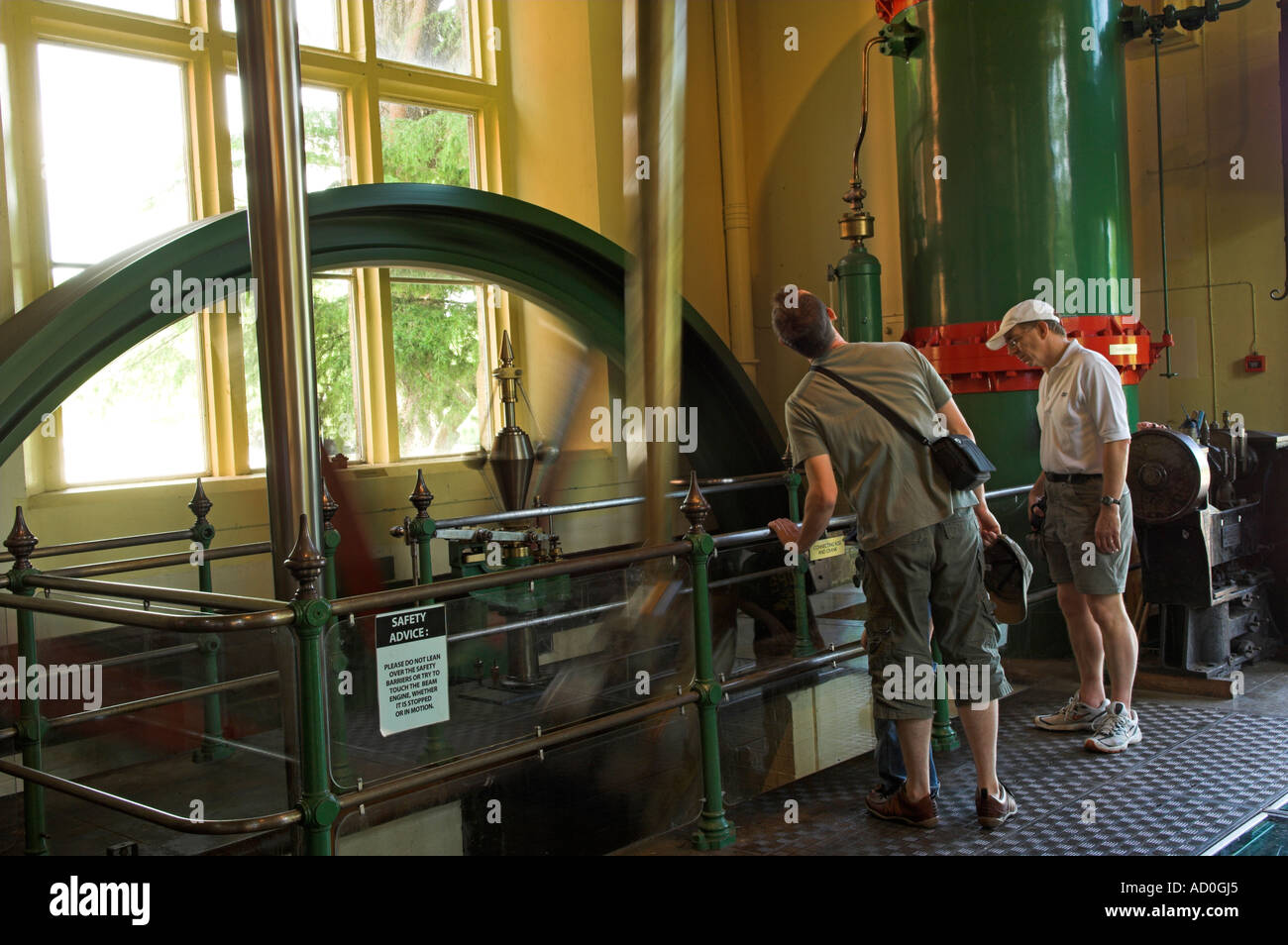 Steam driven beam engine Blagdon Lake water pumping station museum part of Bristol Waterworks - Stock Image