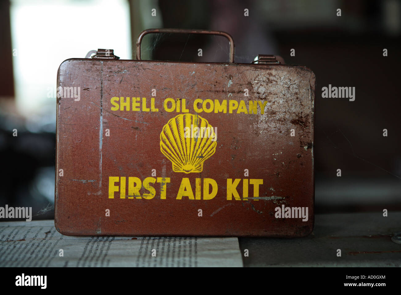 old rusty shell first aid kit route 66 memorabilia stock photo