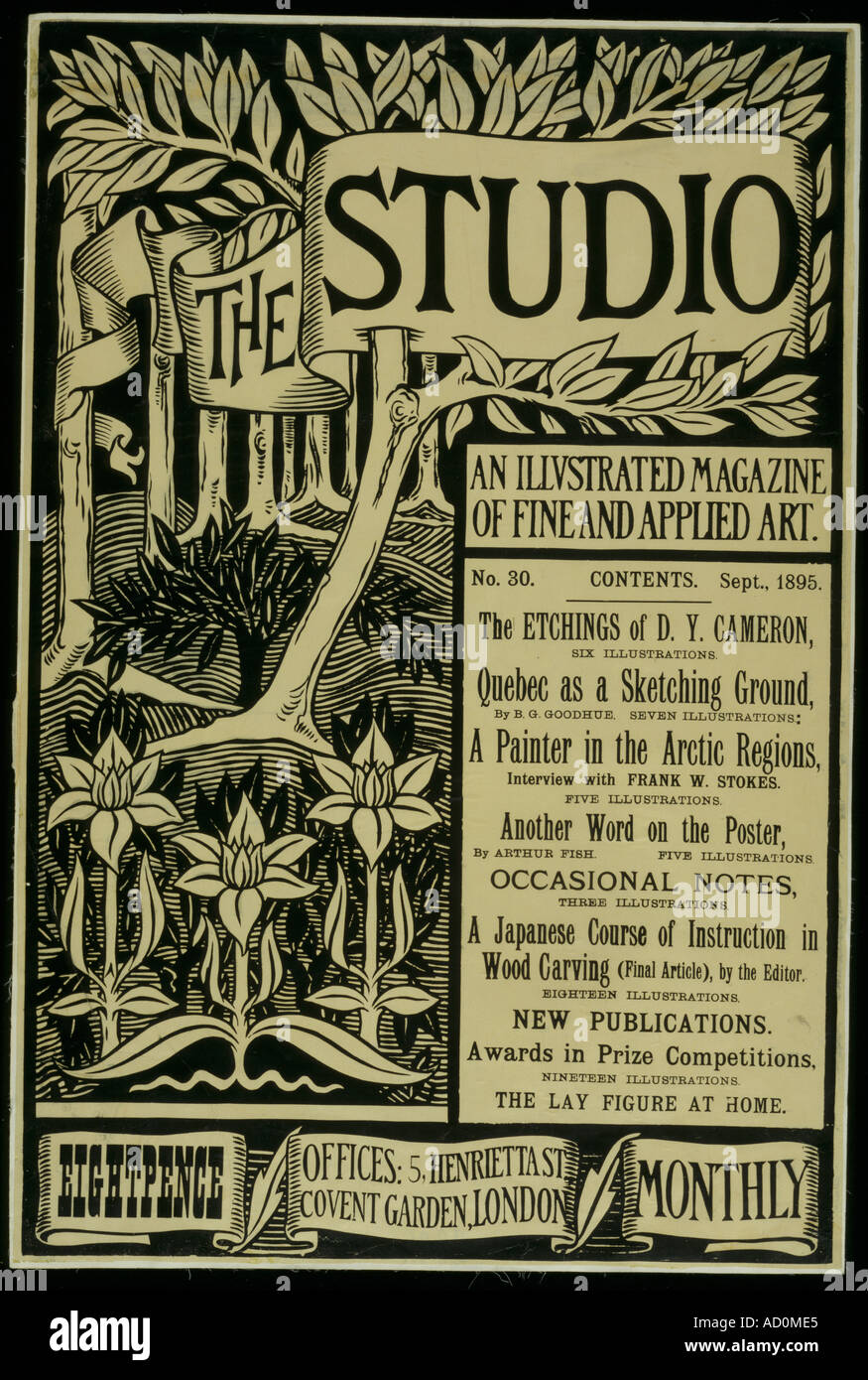Design for first Issue of The Studio An Illustrated Magazine of Fine and Applied Art designed by Aubrey Beardsley. - Stock Image