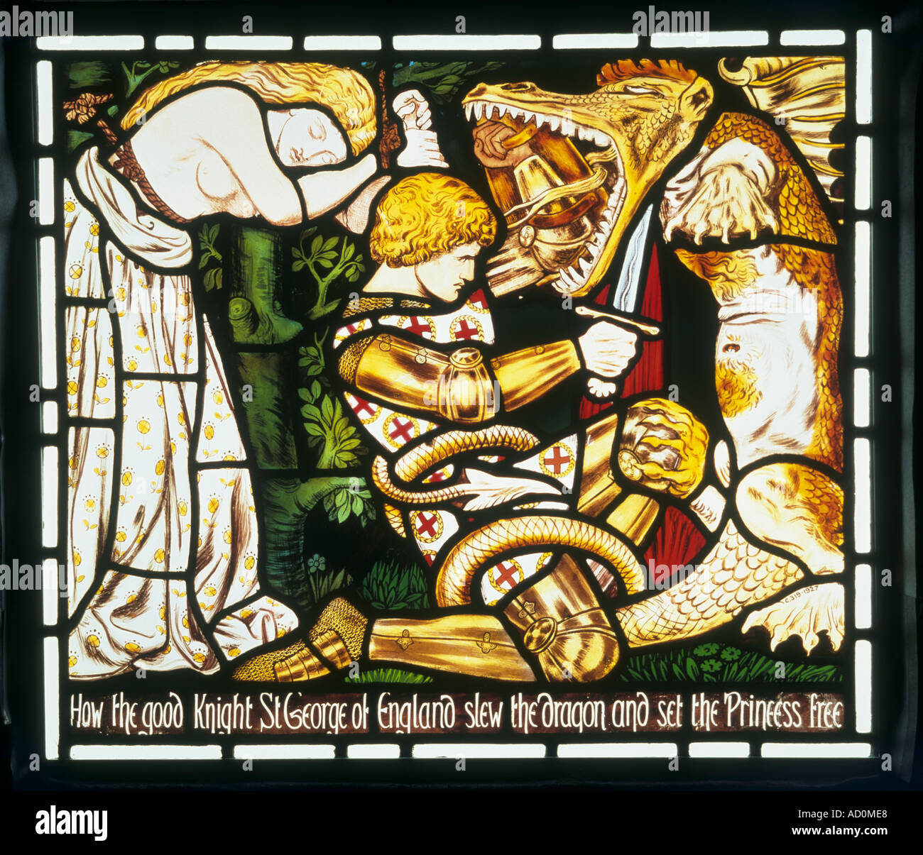 The Legend of St George by Dante Gabriel Rossetti. England, late 19th century. - Stock Image