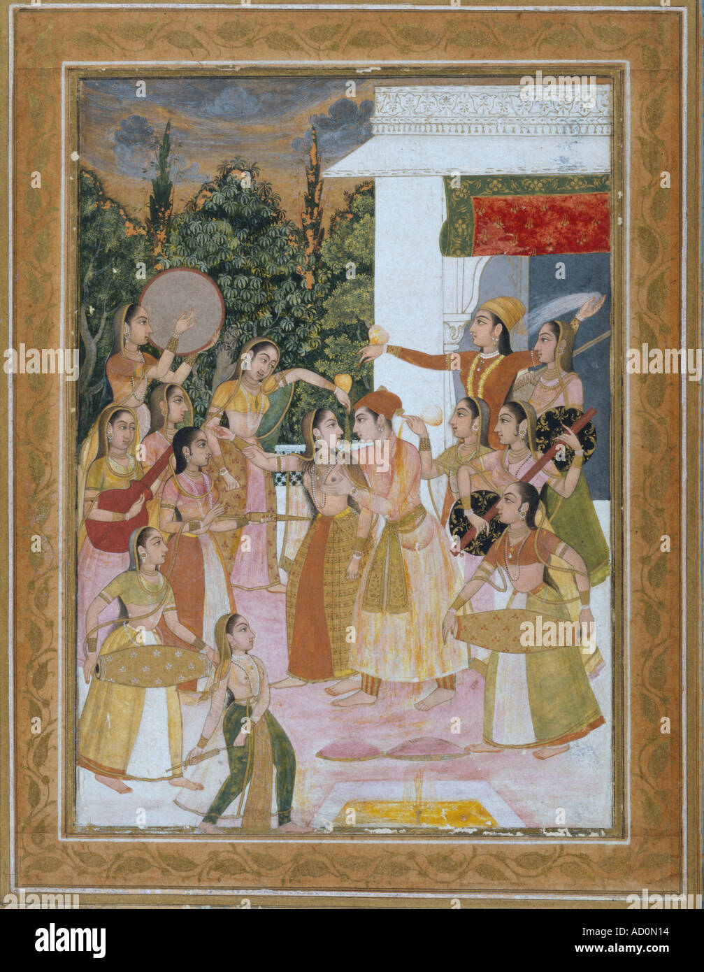 Indian painting. Gouache on paper. Mughal, 1750. - Stock Image