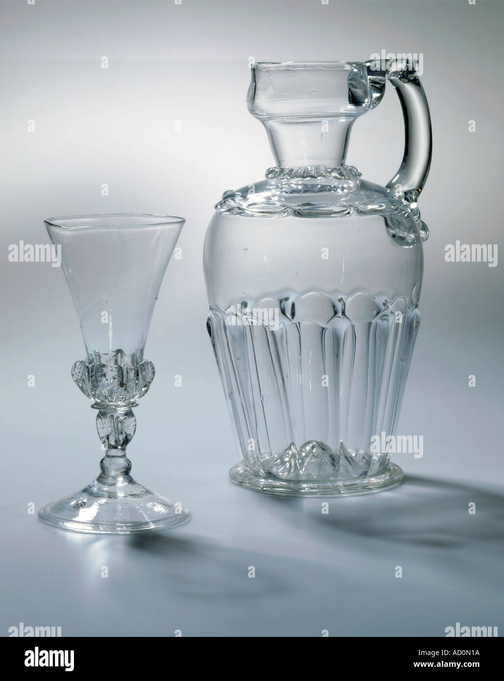 Decanter jug and drinking glass. England, c.1680-90. - Stock Image