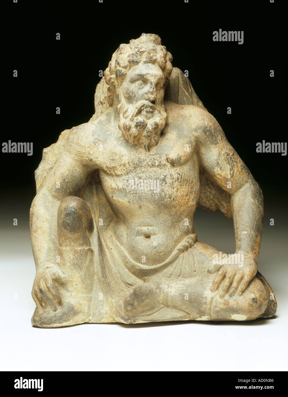 Figure of Atlas. Jalalabad, Afghanistan, about 50 BC to 150 AD. - Stock Image