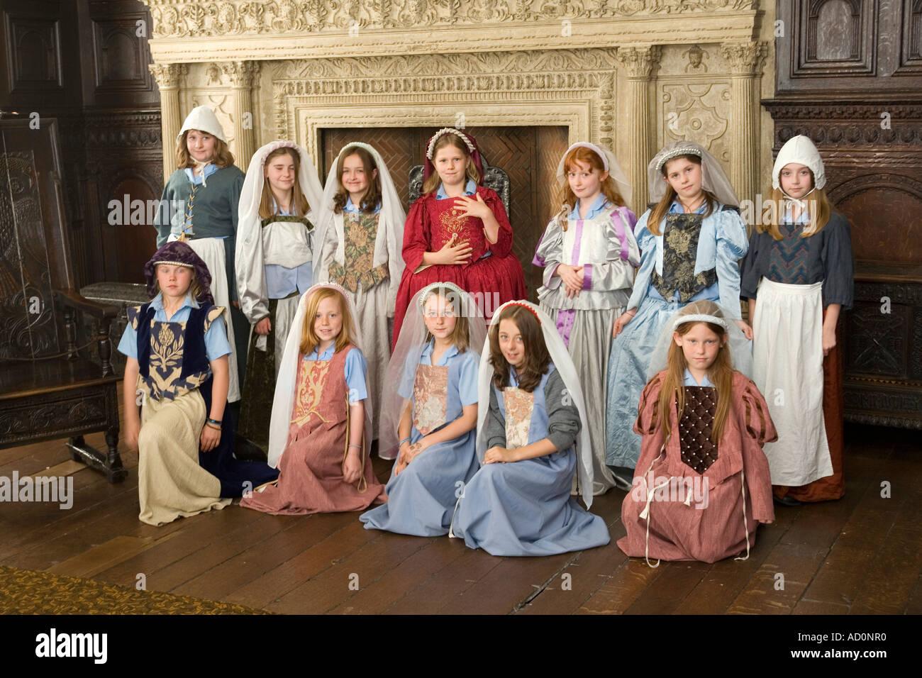 England Bristol West End Red Lodge Great Oak Room costumed schoolchildren Stock Photo