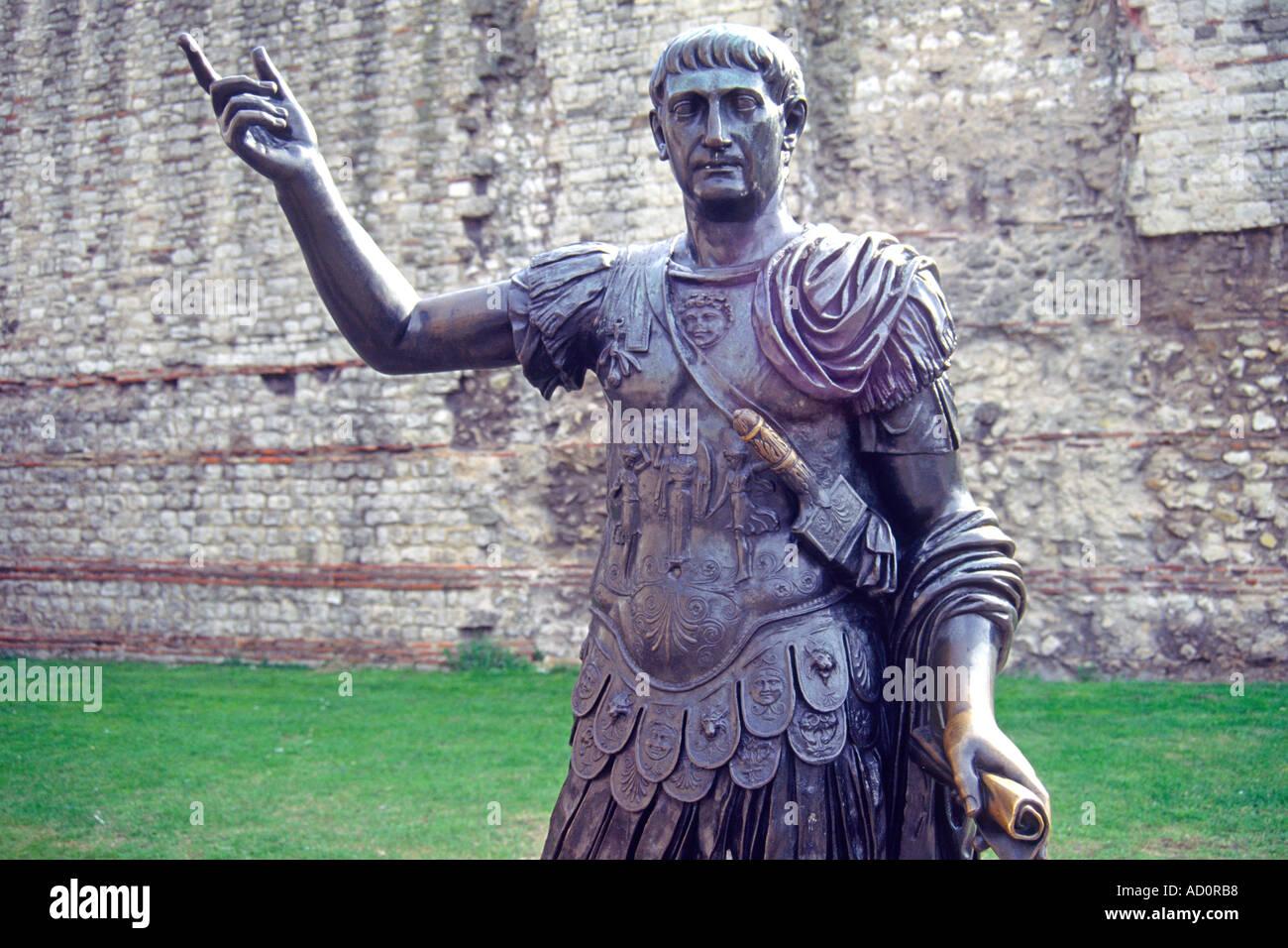Statue of the Roman emperor Trajan in London. - Stock Image