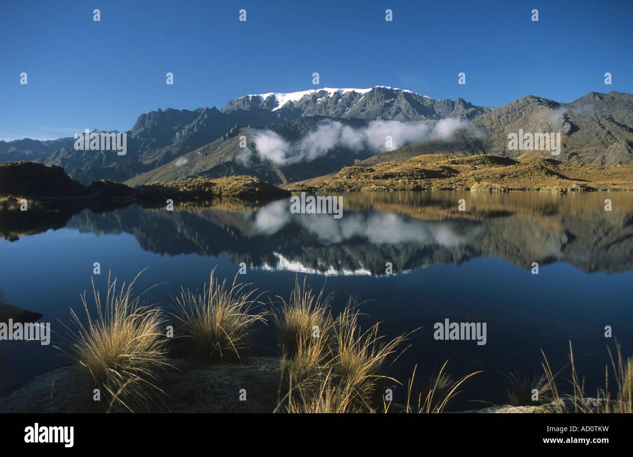 Mount Mururata, Lake Khelluani and ichu grass (Jarava ichu) , La Reconquistada trail, Cordillera Real, Bolivia - Stock Image