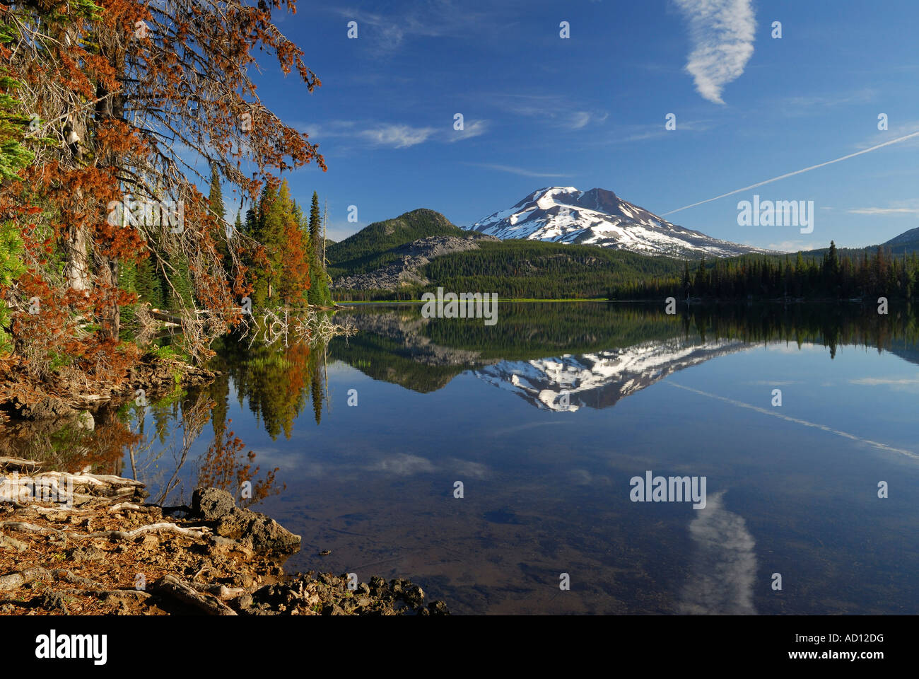 Early morning on calm Sparks Lake with South Sister and treed shoreline Deschutes National Forest Bend Oregon USA - Stock Image