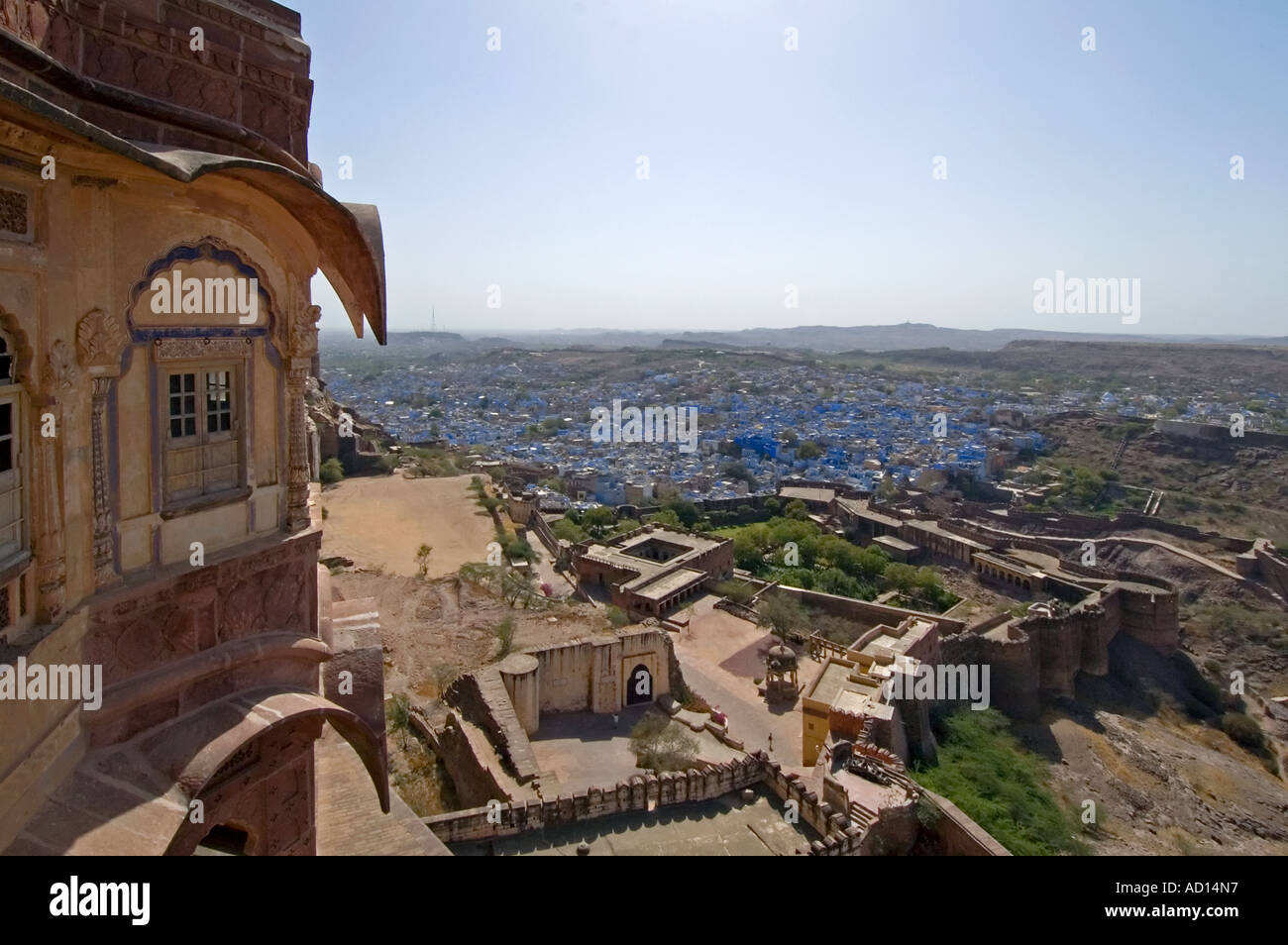 Horizontal elevated wide angle over the city of Jodhpur and the Chokelao Palace with the distinctive blue houses Stock Photo