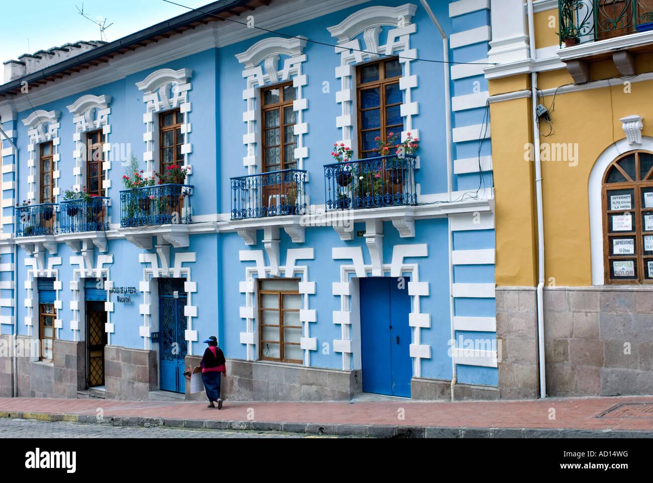 Colourful Colonial Architecture Quito Ecuador Stock Photo