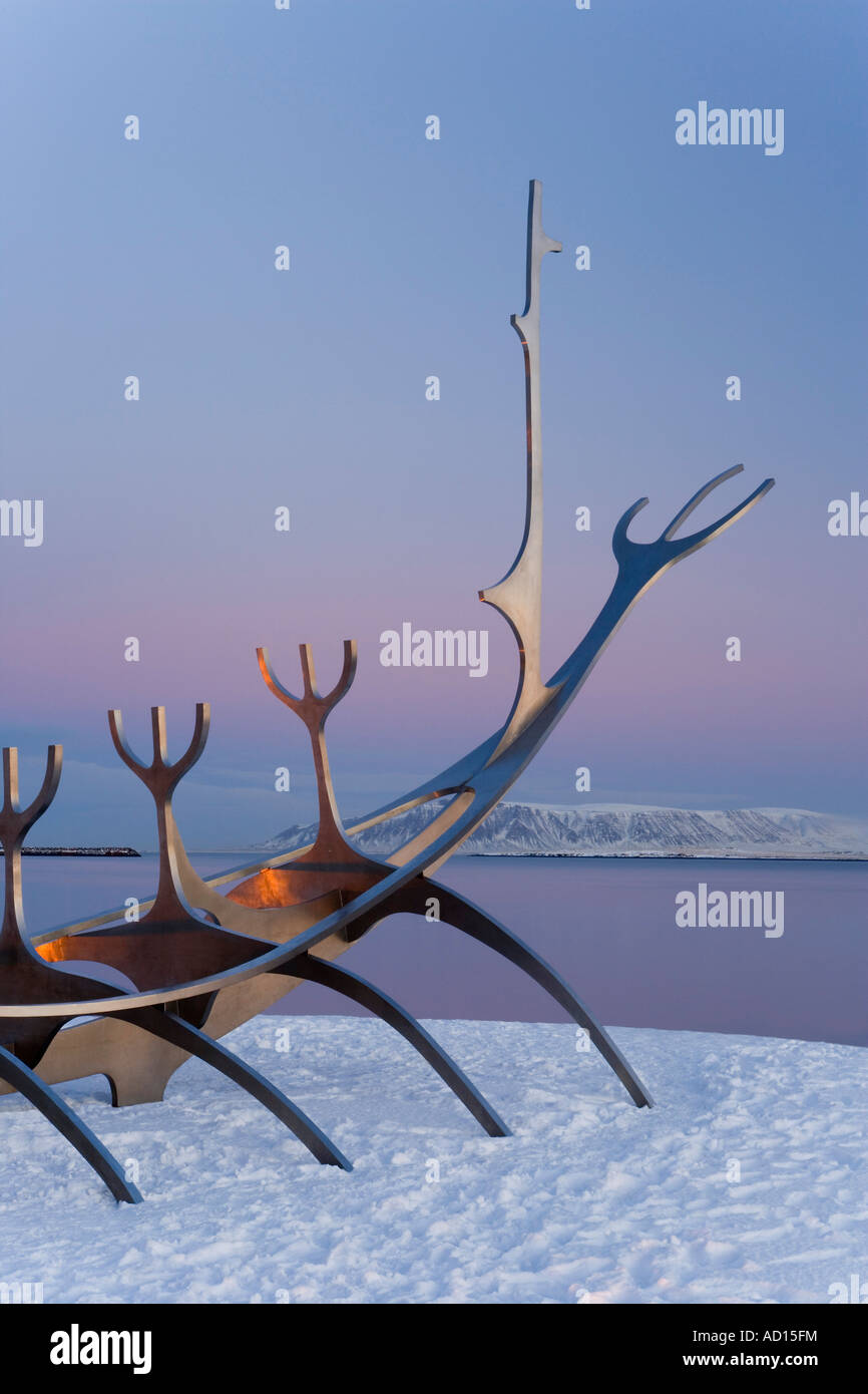 Sun-Craft sculpture (Viking Ship), Reykjavik, Iceland - Stock Image