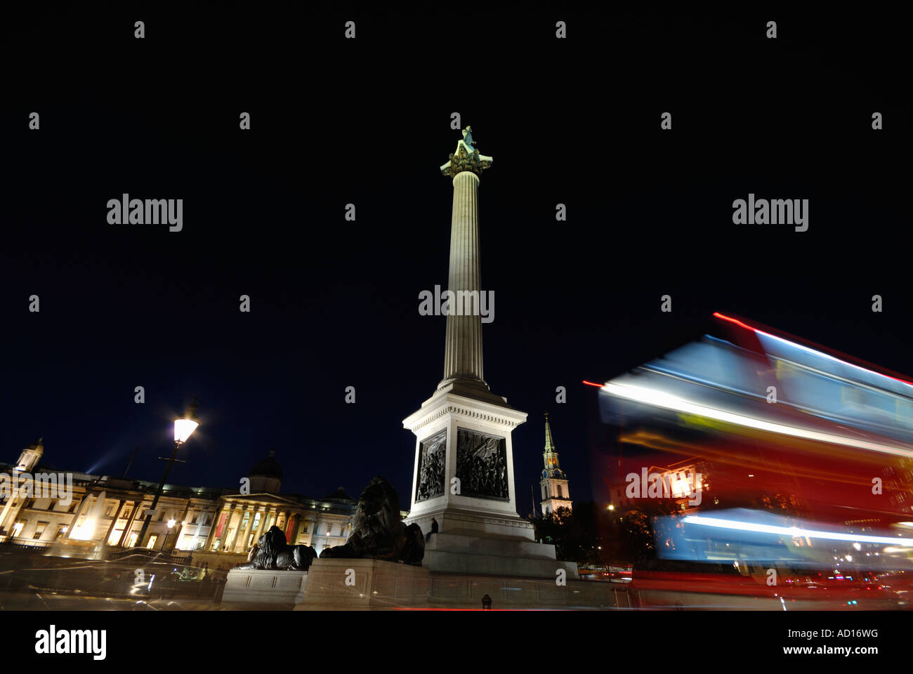 Nelson s Column Trafalgar Square London England - Stock Image