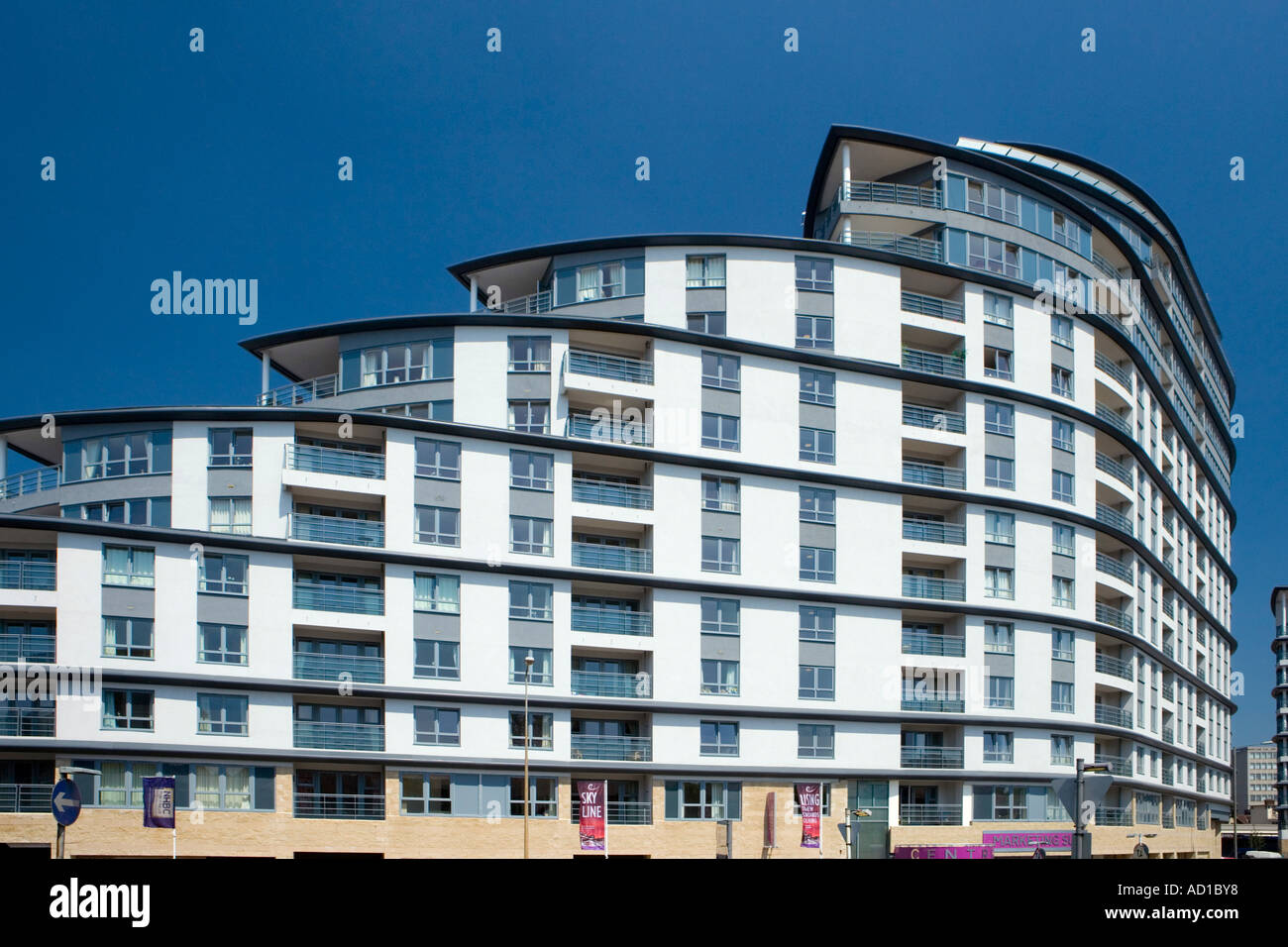 Modern apartment building, Woking, Surrey UK Stock Photo: 7584247 ...