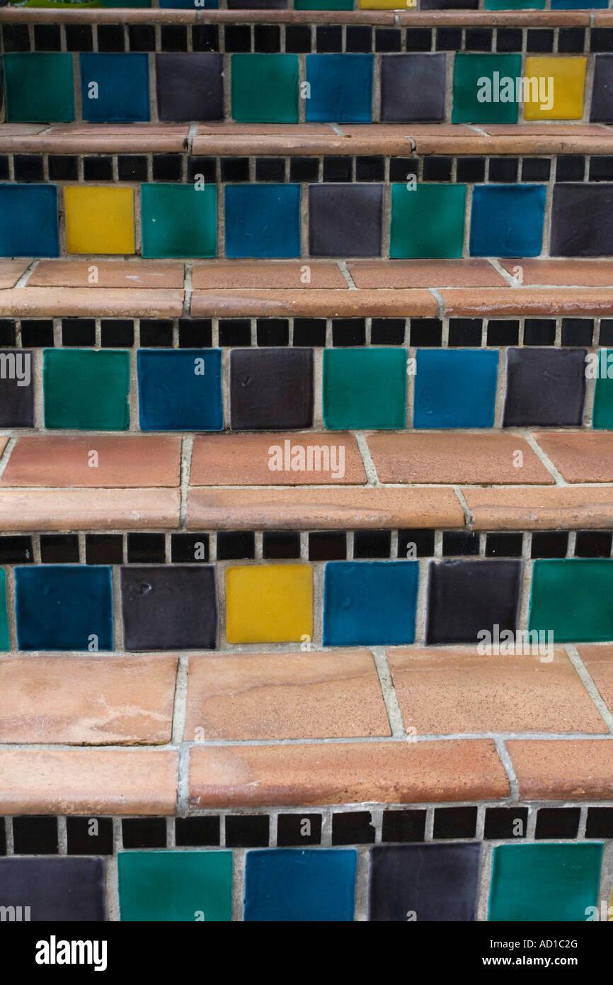 Mosaic Steps, Worth Avenue, Palm Beach, Florida, USA - Stock Image
