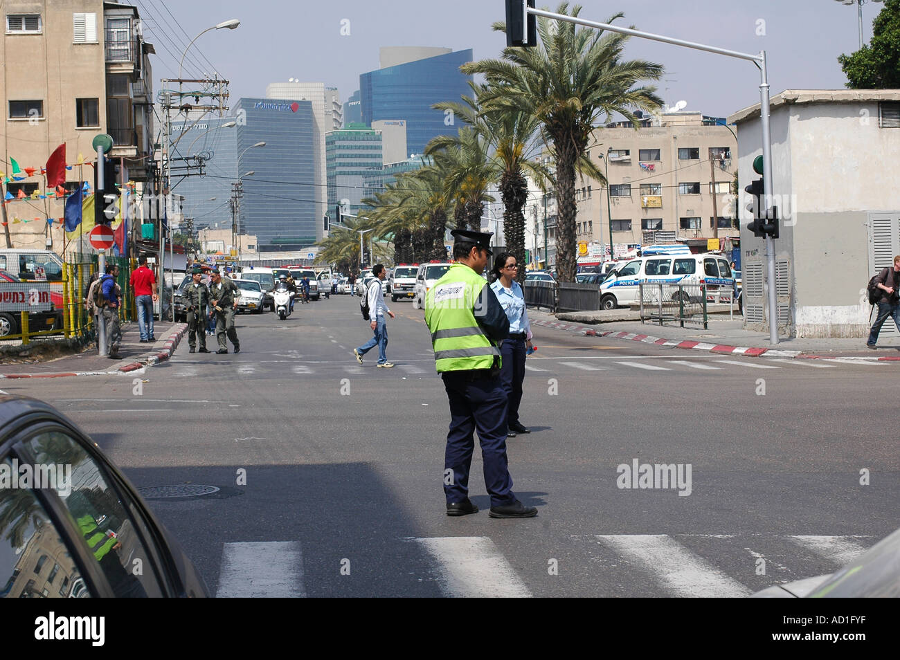 Tel Aviv Israel after a suicide bomber exploded in the street on April 17th 2006 killing 9 mostly foreigners - Stock Image