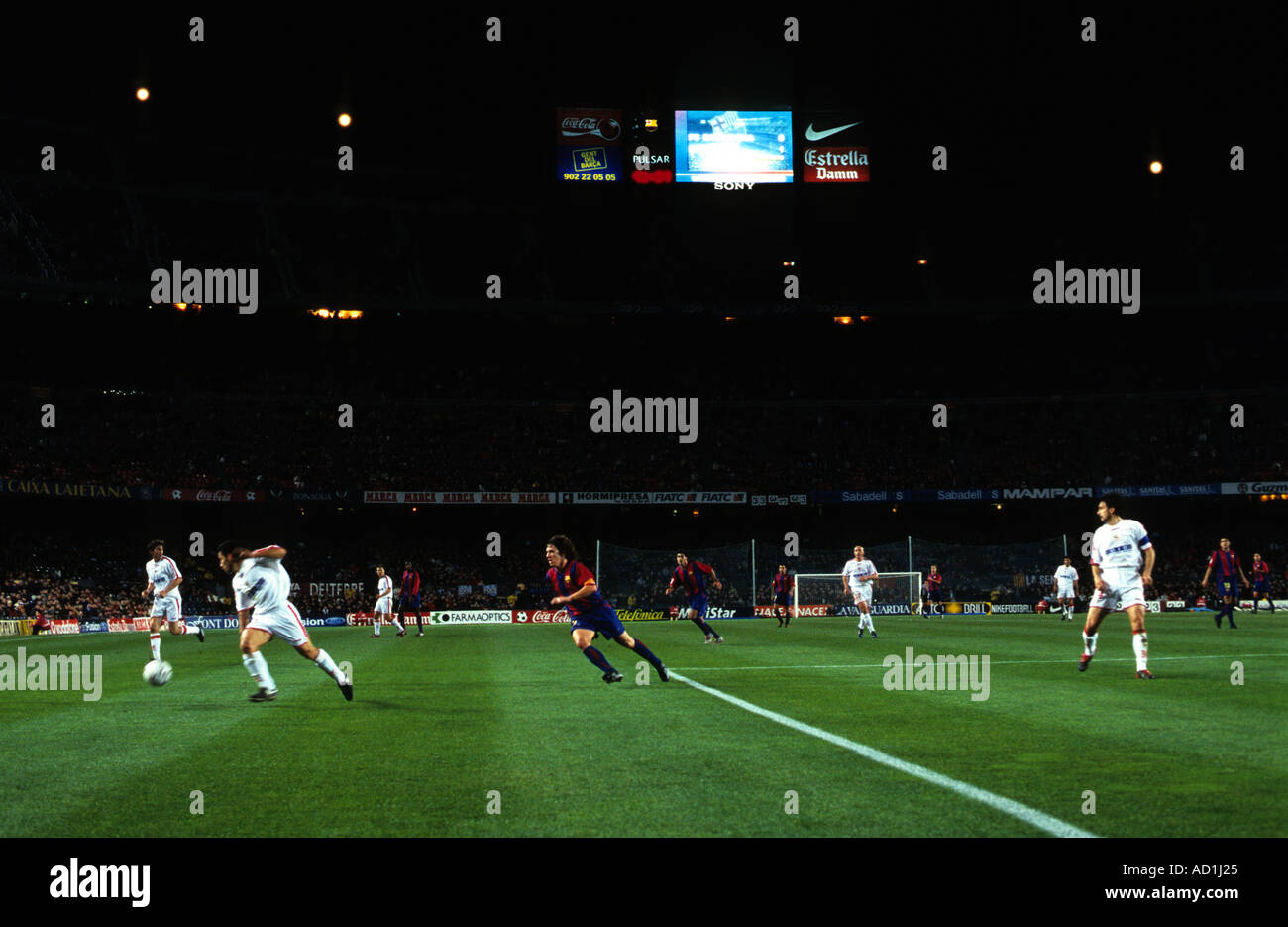 Barcelona Football Club playing at the Nou Camp stadium, Europe's largest footballing arena. - Stock Image