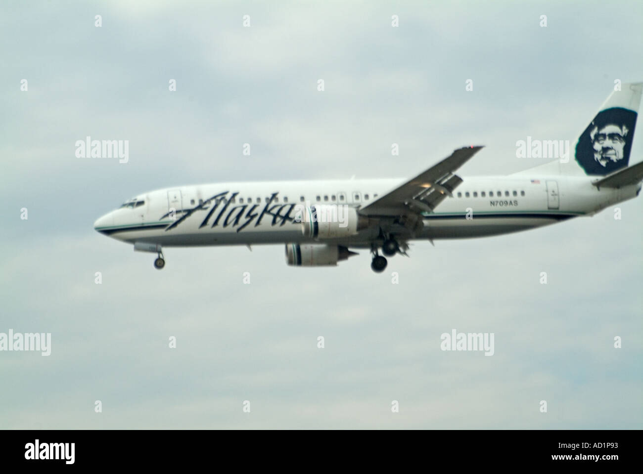 Alaska airlines Airplane landing wheels down low altitude on approach to LAX - Stock Image