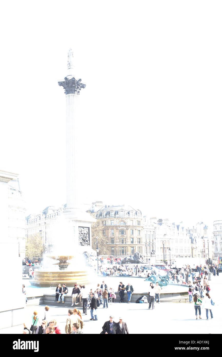 Trafalgar Square in stylised overexposure. London, England, UK - Stock Image