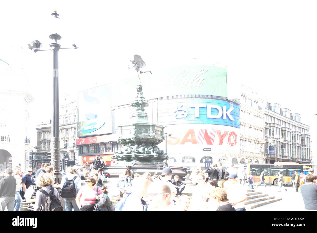 Piccadilly Circus in stylised overexposure. London, England, UK - Stock Image