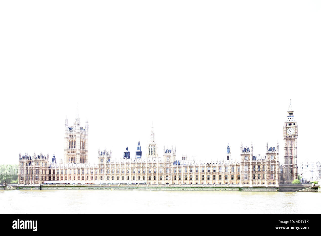 Houses of Parliament in stylised overexposure. Westminster, London, England, UK - Stock Image