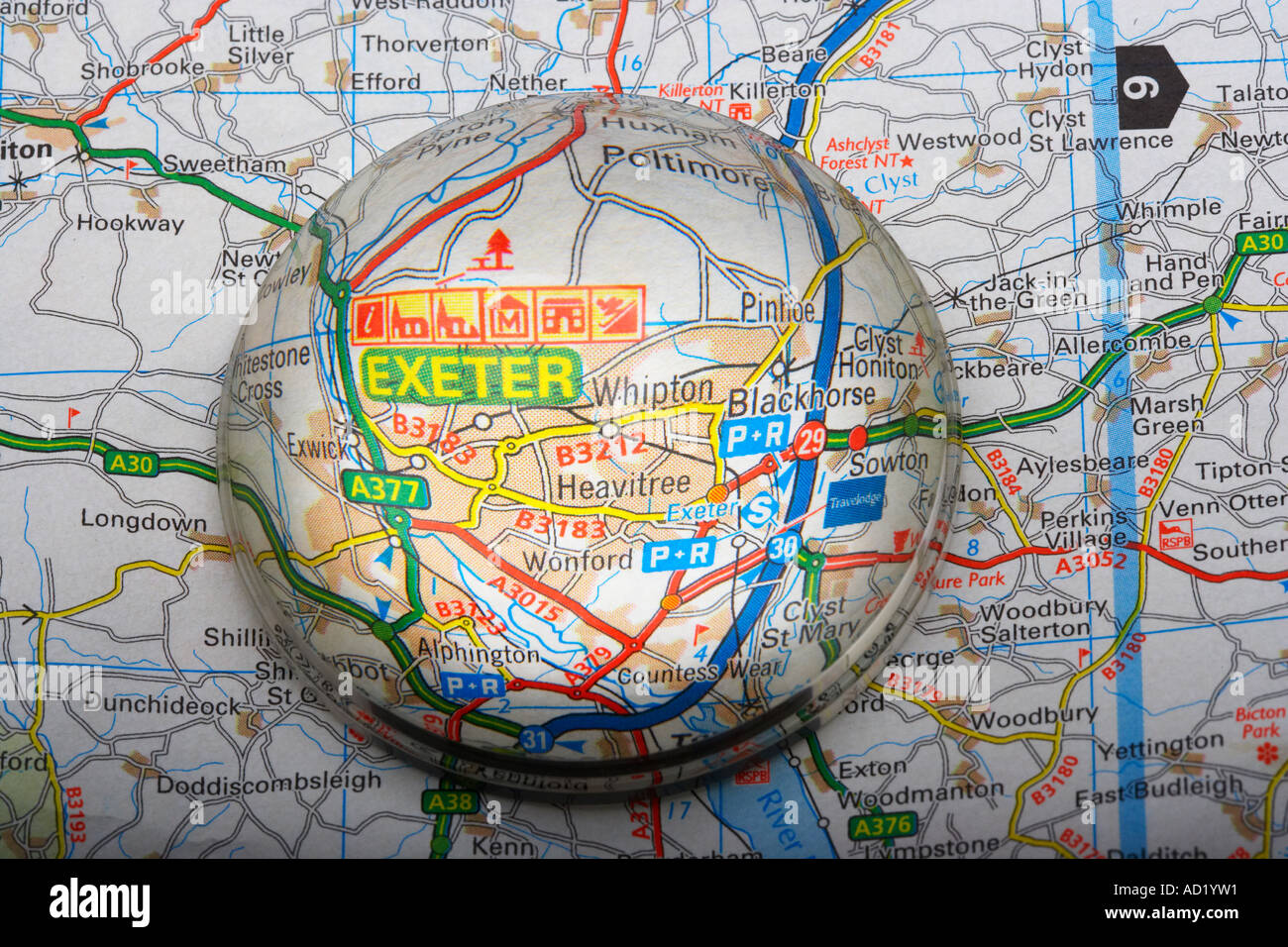 magnified map area of exeter in devon england uk