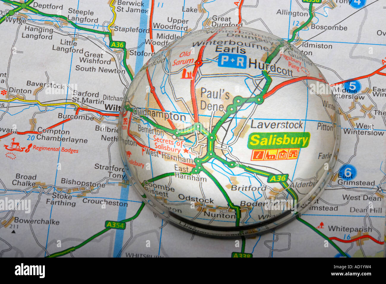 Magnified Map Area of Salisbury, England, UK Stock Photo: 7587283