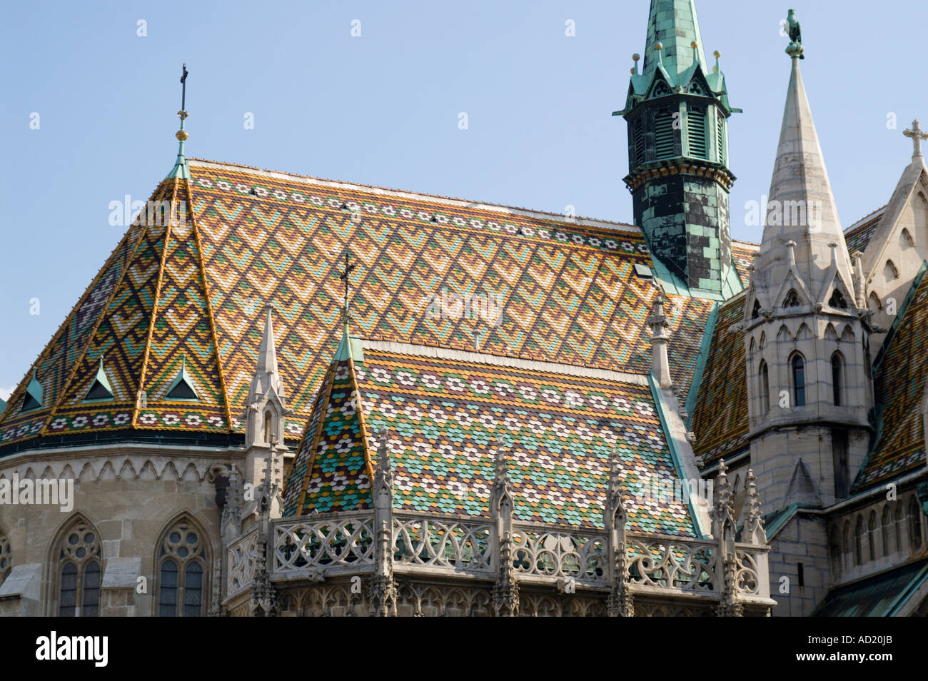 Budapest Hungary Matyas Church Roof Tiles