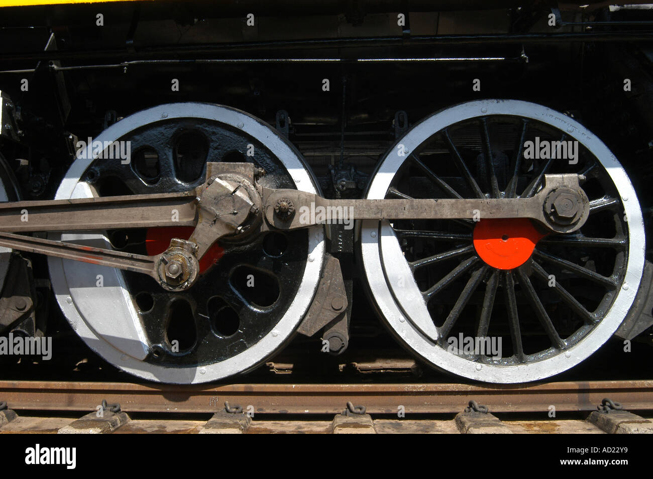 Wheels of first train railway engine ran between Victoria Terminus VT now CST and Thane stations Mumbai India Asia - Stock Image