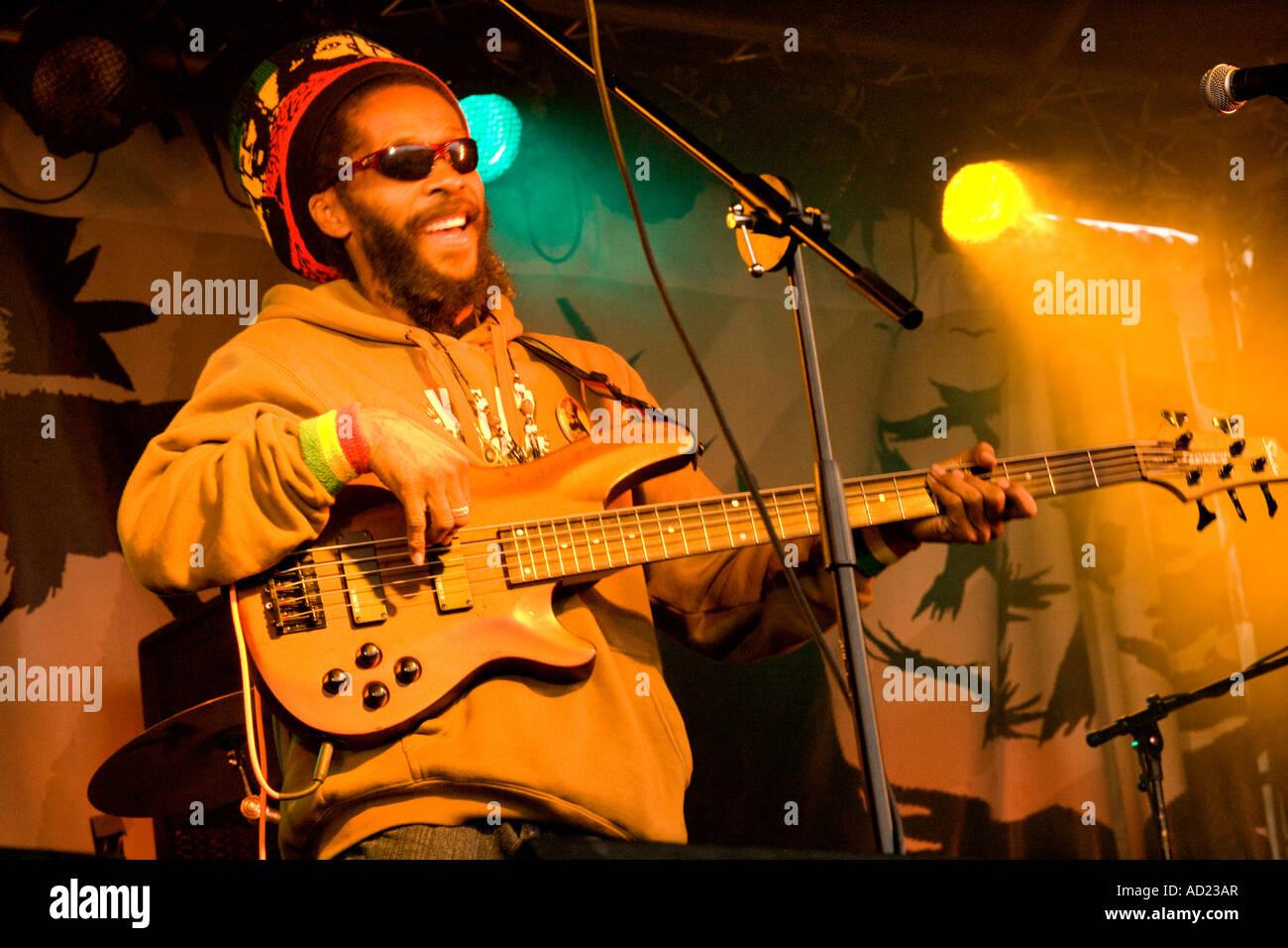 The Wickerman Music Festival Easy Star All Stars on stage reggae jamaican singer Dundrennan Kirkcudbright Scotland - Stock Image