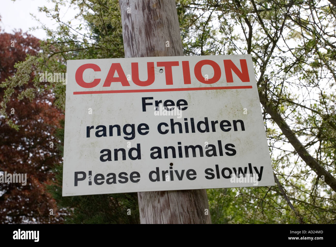 caution free range animals and children traffic sign in cotswold