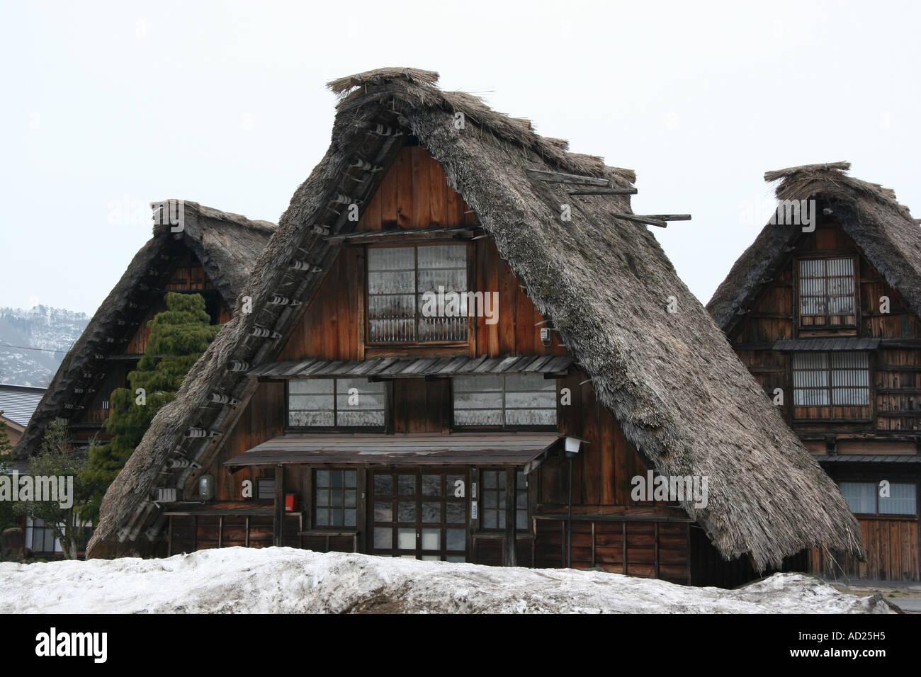 Traditional thatched farmhouses at Shirakawa-go in Gifu, Japan - Stock Image