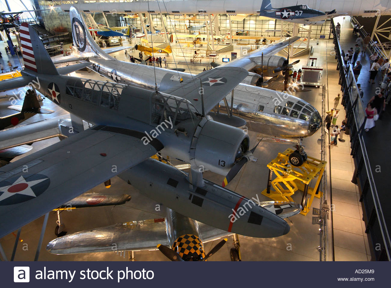 Japanese WWII seaplane and US Enola Gay B-29 on display at the Steven Udvar-Hazy Center. Stock Photo