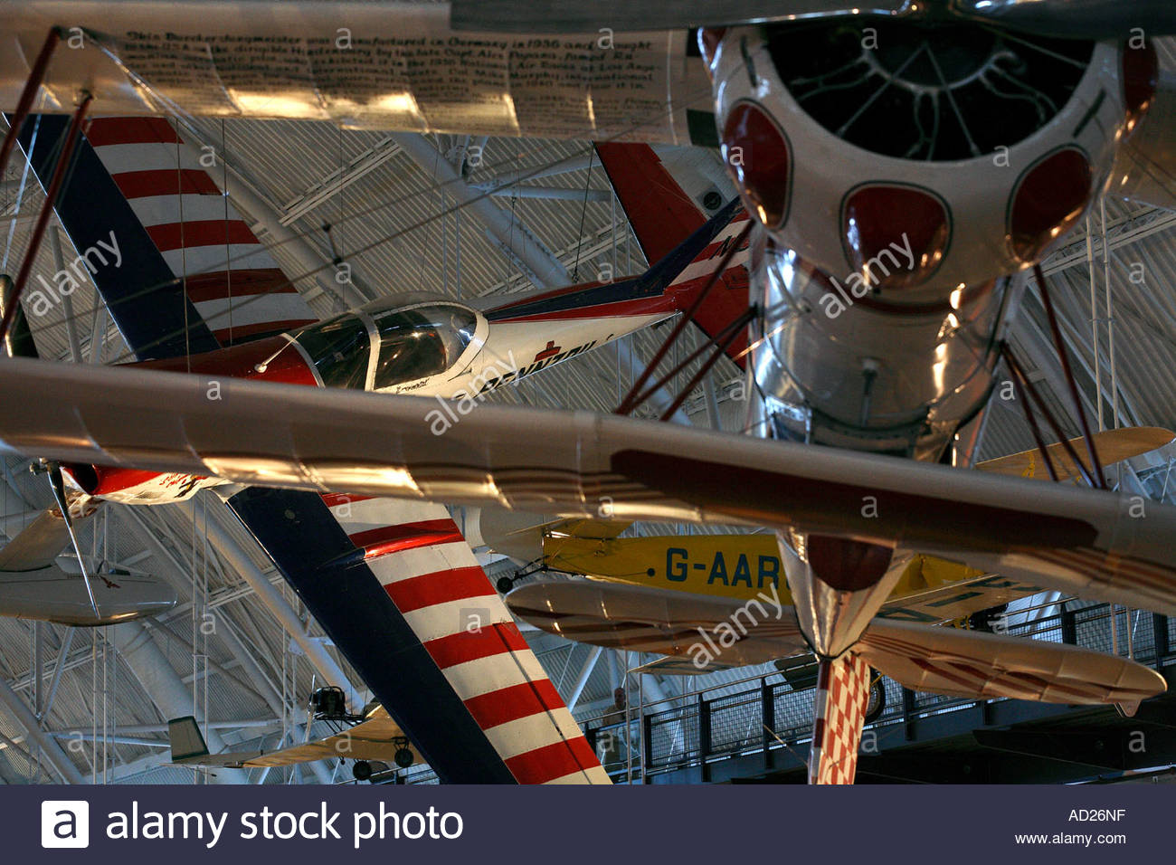 Jungmeister and Pennzoil Special aircraft on display at the Steven Udvar-Hazy Center - Stock Image