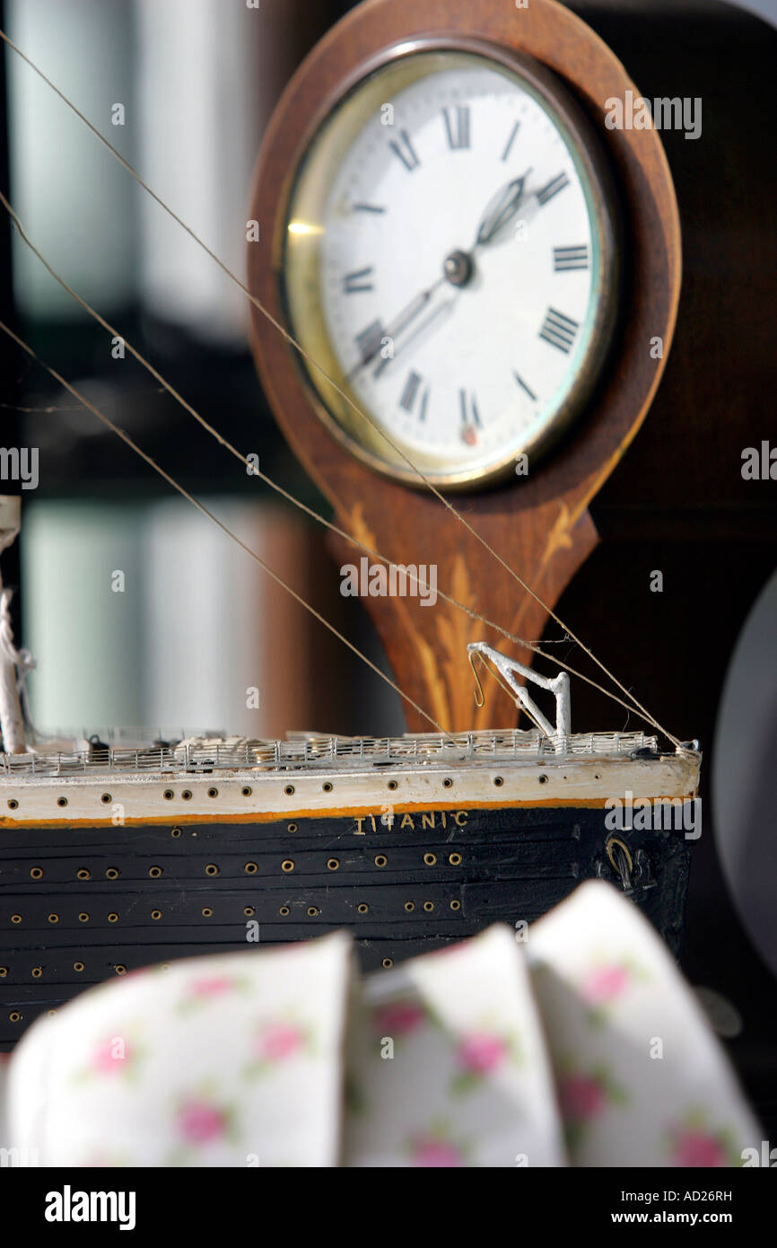 Detail of model of the SS Titanic in one of the shops on Nelson's Antique Trail, New Zealand - Stock Image