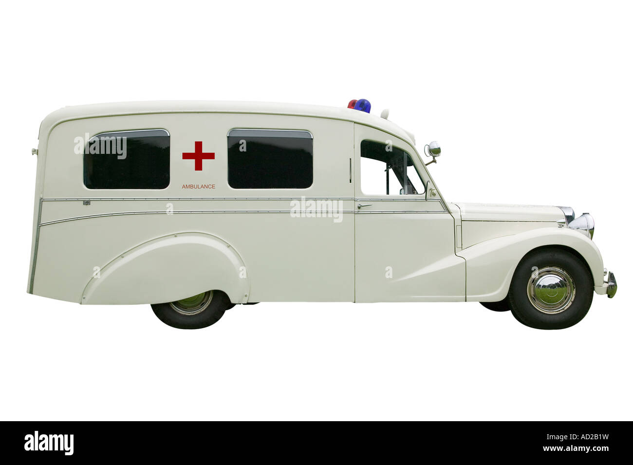 Vintage old Ambulance isolated on white With clipping path - Stock Image
