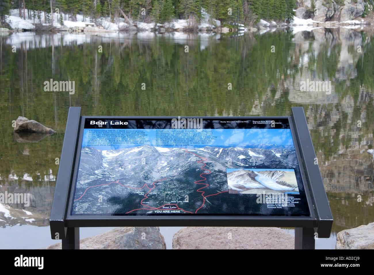 Tourist Location Information Signage, Bear Lake, Rocky Mountain National Park, Colorado Stock Photo