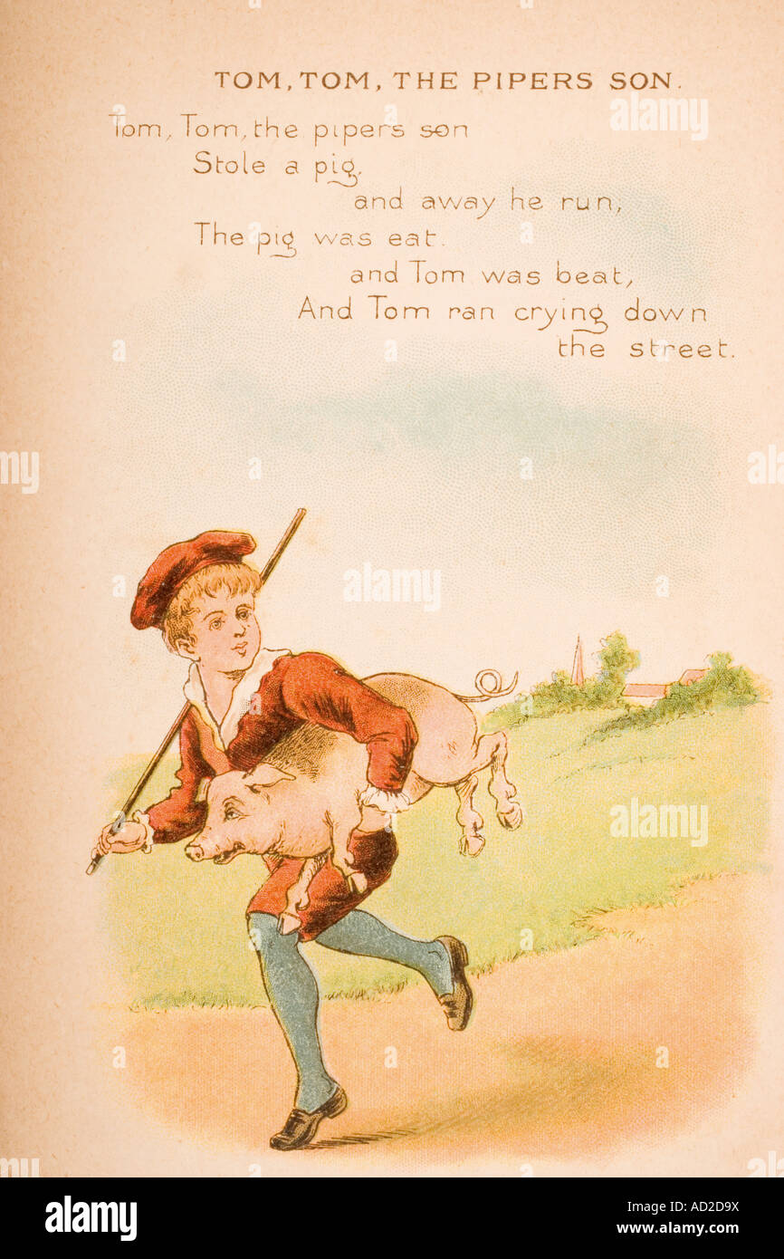 Tom Tom the Piper´s Son from Old Mother Goose s Rhymes and Tales - Stock Image