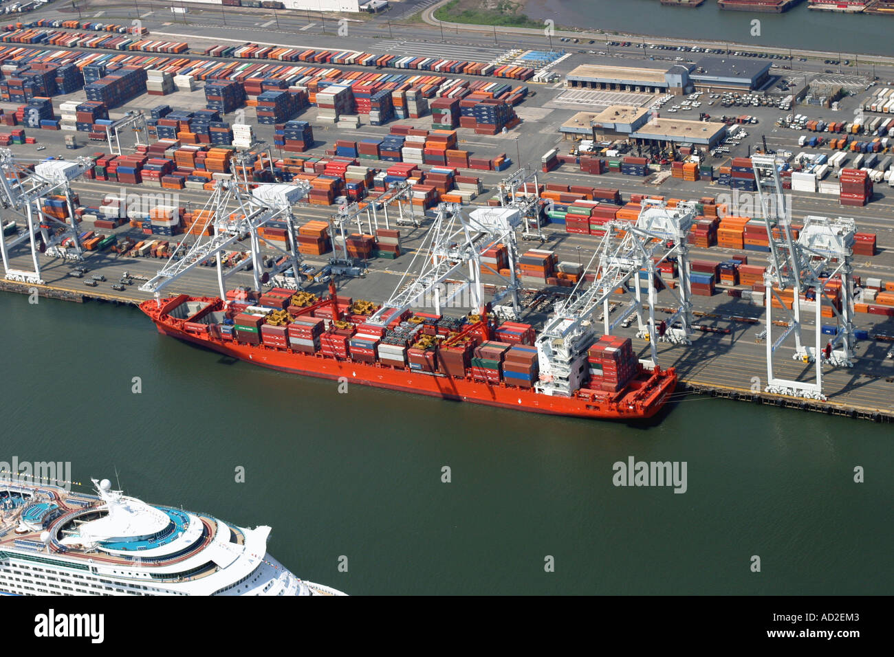Aerial view of container ship docked at Bayonne, New Jersey, U.S.A. Stock Photo