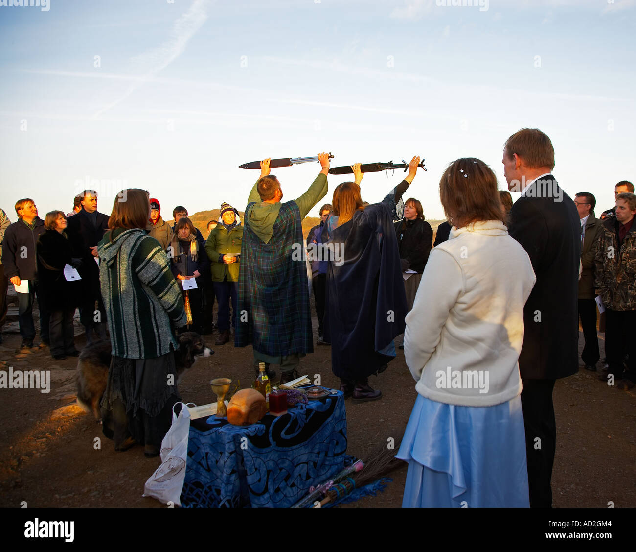 Wiccan wedding stock photos wiccan wedding stock images alamy pagan handfasting wedding ceremony in wales uk stock image junglespirit Gallery