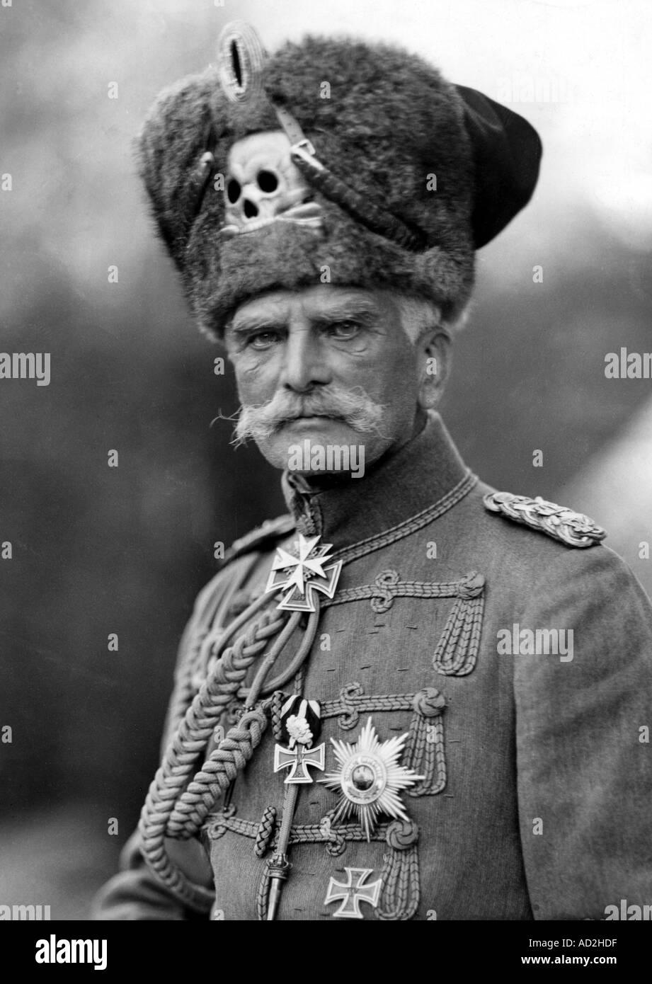 Field Marshall August von Mackensen 1849 1944 wearing the uniform of the Death Head Hussars Stock Photo