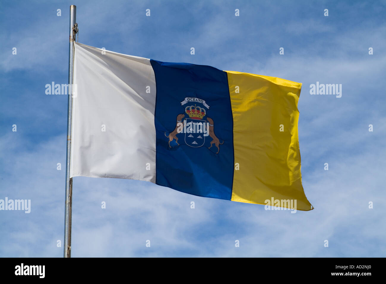 Dh Flag Fuerteventura White Blue And Yellow Standard Canary Island Stock Photo Alamy